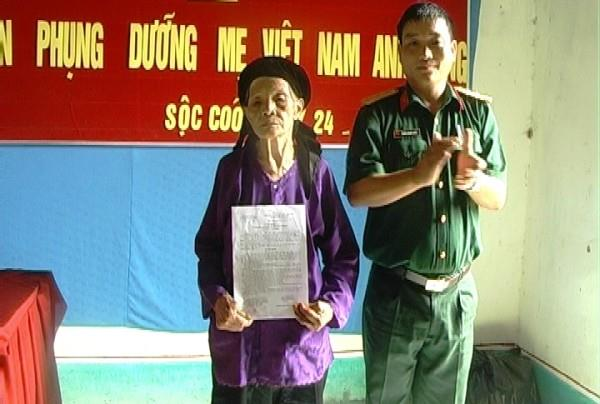 Ban CHQS Thạch An: Nhận phụng dưỡng Mẹ Việt Nam Anh hùng Triệu Thị Ráy