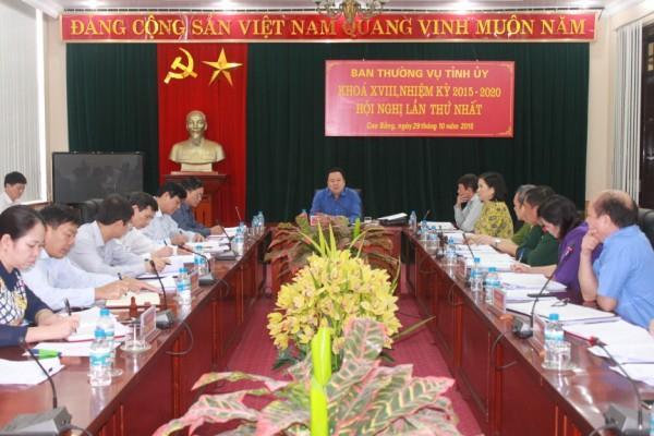 Hội nghị Ban Thường vụ Tỉnh ủy lần thứ nhất khóa XVIII, nhiệm kỳ 2015- 2020