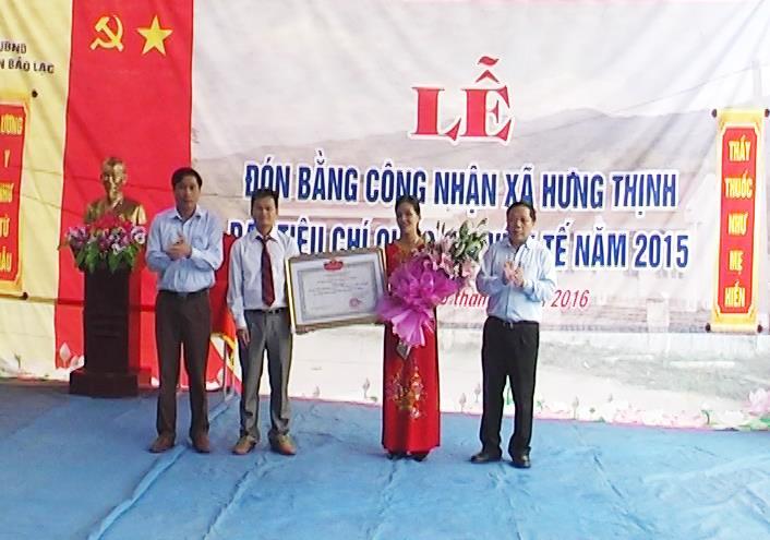 Bảo Lạc: Hưng Thịnh đón bằng công nhận xã đạt tiêu chí Quốc gia về y tế năm 2015