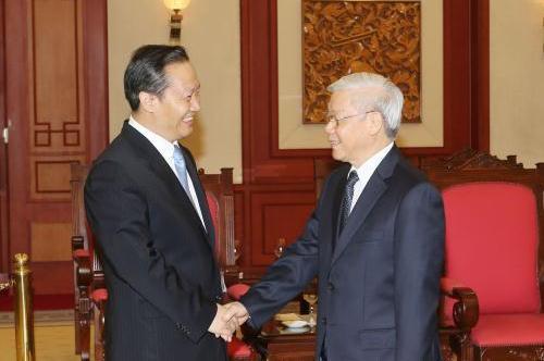 Tổng Bí thư Nguyễn Phú Trọng tiếp Bí thư Đảng ủy Khu tự trị dân tộc Choang Quảng Tây, Trung Quốc