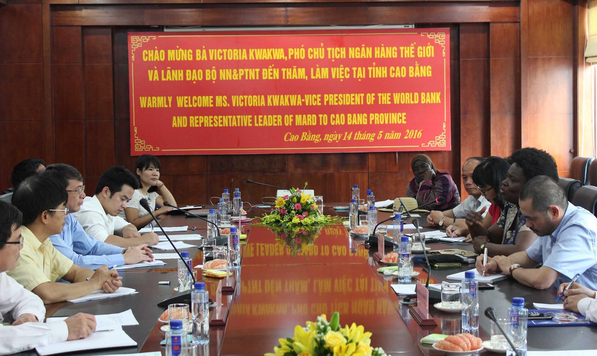 Phó Chủ tịch Ngân hàng Thế giới và Thứ trưởng Bộ Nông nghiệp và Phát triển nông thôn thăm và làm việc tại Cao Bằng