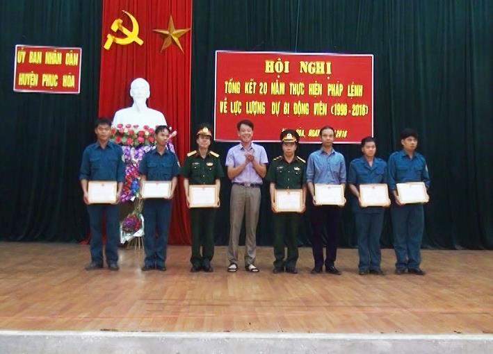 Thạch An; Phục Hòa: Tổng kết 20 năm thực hiện pháp lệnh dự bị động viên (1996 – 2016)