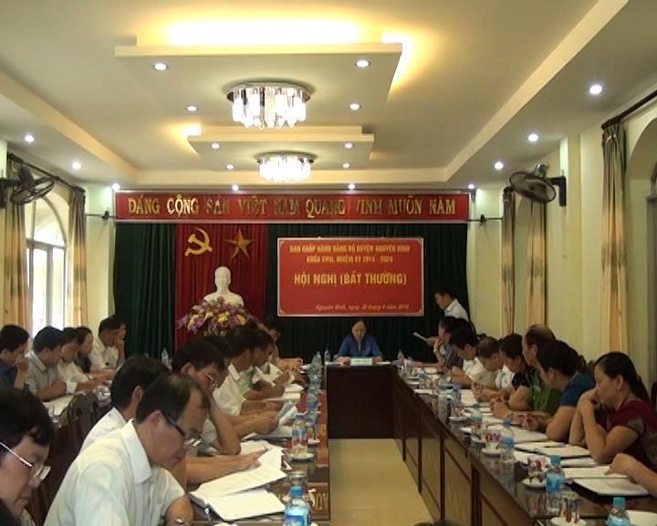 Nguyên Bình: Hội nghị Ban Chấp hành Đảng bộ huyện (bất thường) về công tác cán bộ khóa XVIII, nhiệm kỳ (2015 – 2020).