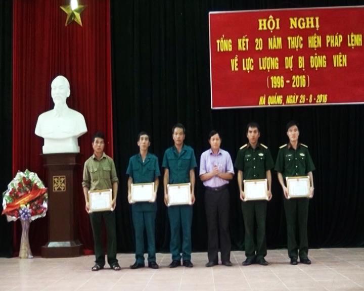 Bảo Lâm; Hà Quảng: Tổng kết 20 năm thực hiện Pháp lệnh về Dự bị động viên, giai đoạn 1996- 2016
