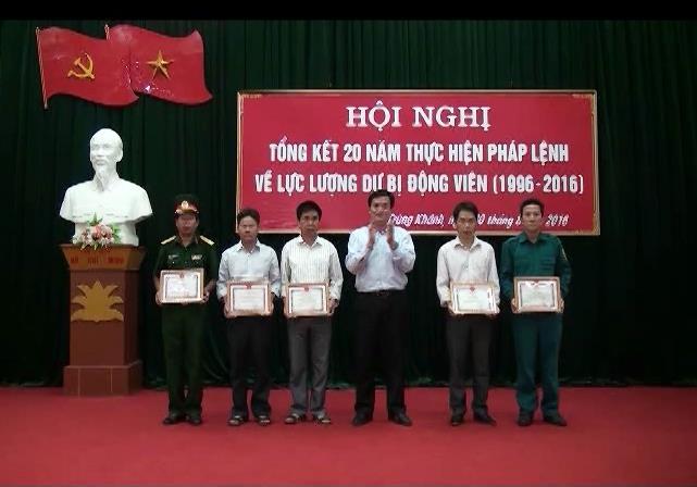 Hạ Lang; Trùng Khánh: Tổng kết 20 năm thực hiện Pháp lệnh về lực lượng Dự bị động viên (1996-2016)