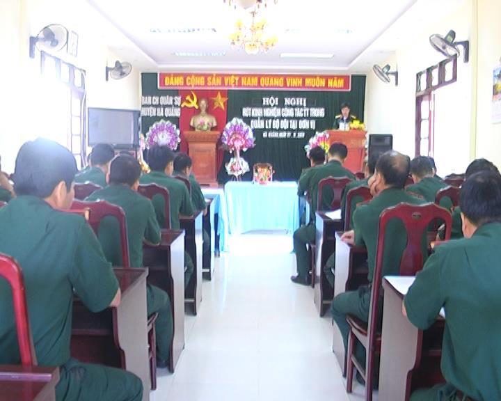 Ban Chỉ huy Quân sự huyện Hà Quảng tổ chức hội nghị rút kinh nghiệm về công tác tư tưởng trong quản lý bộ đội