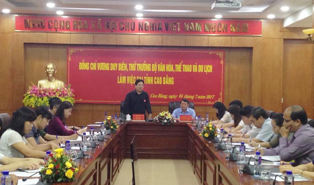 Thứ trưởng Bộ Văn hóa, Thể thao và Du lịch làm việc tại tỉnh Cao Bằng