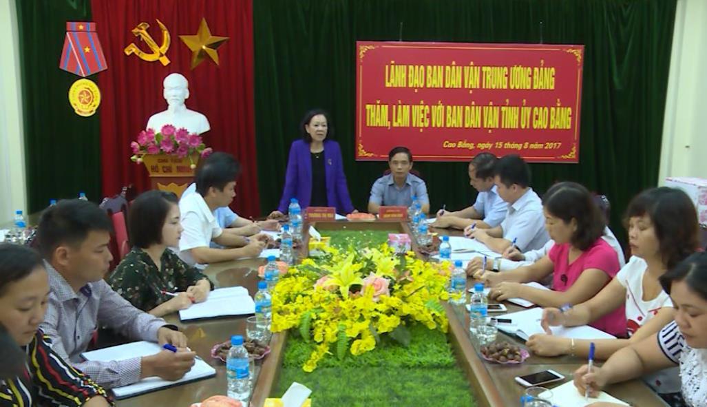 Trưởng Ban Dân vận Trung ương Trương Thị Mai làm việc với Ban Dân vận Tỉnh ủy Cao Bằng