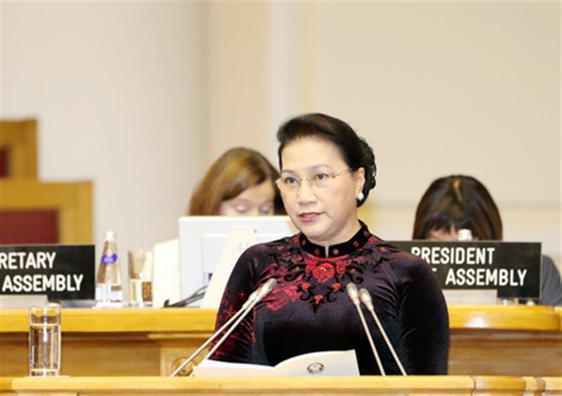 Chủ tịch Quốc hội Nguyễn Thị Kim Ngân dự và phát biểu tại Phiên thảo luận toàn thể Đại hội đồng IPU - 137