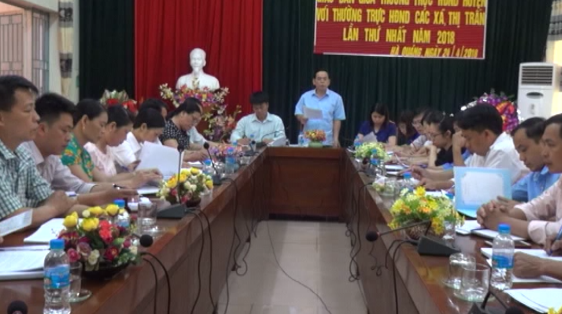 Hà Quảng: Thường trực Hội đồng nhân dân huyện giao ban với Thường trực HĐND xã, thị trấn