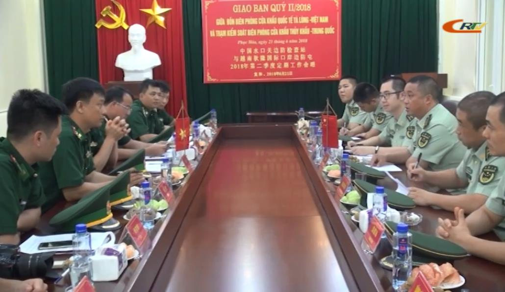 Giao ban quý II giữa Đồn Biên phòng Cửa khẩu Quốc tế Tà Lùng (Việt Nam) và Trạm Kiểm soát Biên phòng Thủy Khẩu, Long Châu, Quảng Tây, Trung Quốc