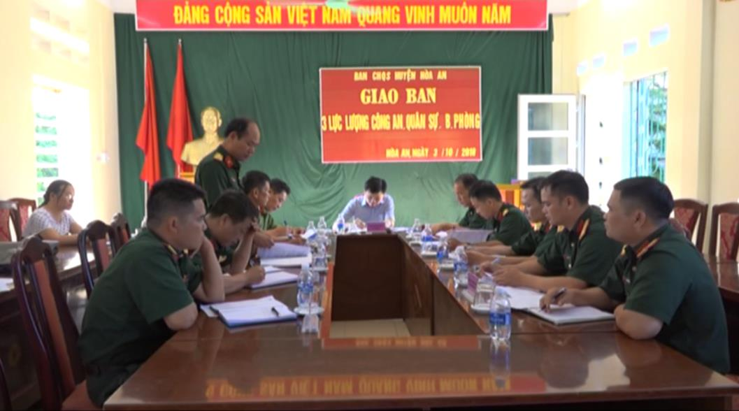Hòa An: Giao ban 3 lực lượng Công an - Quân sự - Biên phòng