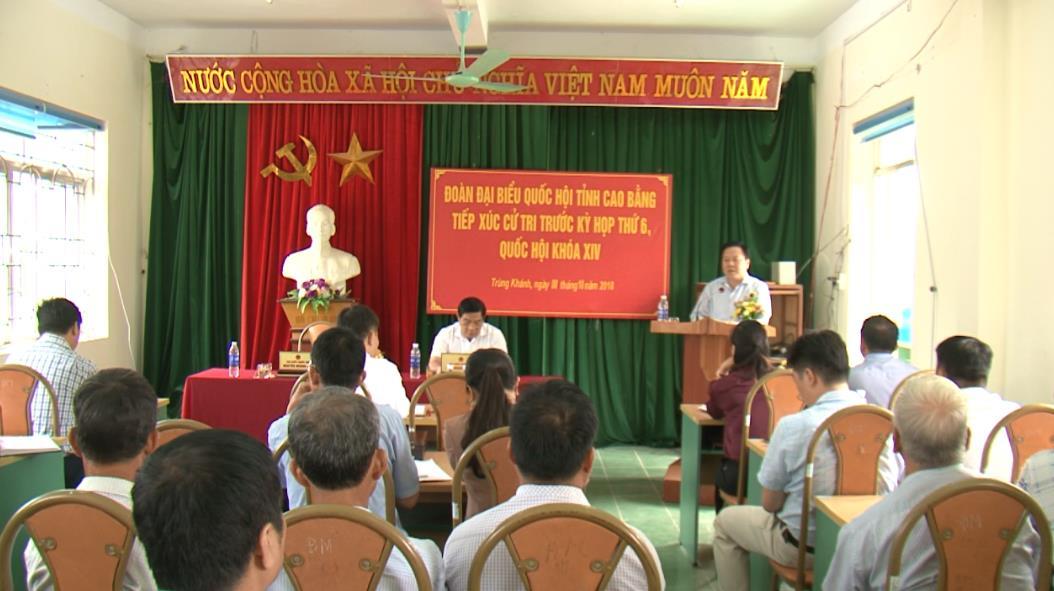 Đoàn ĐBQH tỉnh tiếp xúc cử tri huyện Trùng Khánh trước Kỳ họp thứ 6 Quốc hội khóa XIV