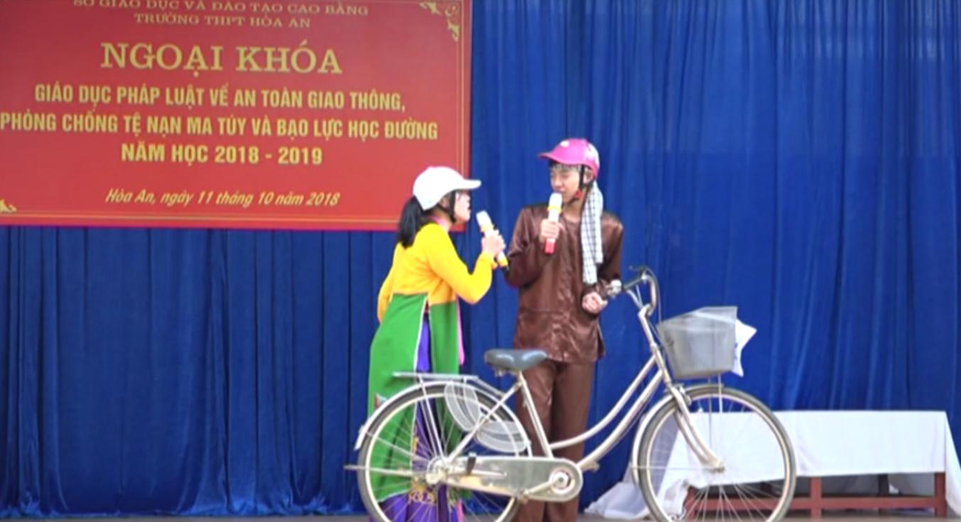 Hòa An: Tuyên truyền Luật Giao thông đường bộ năm học 2018 - 2019