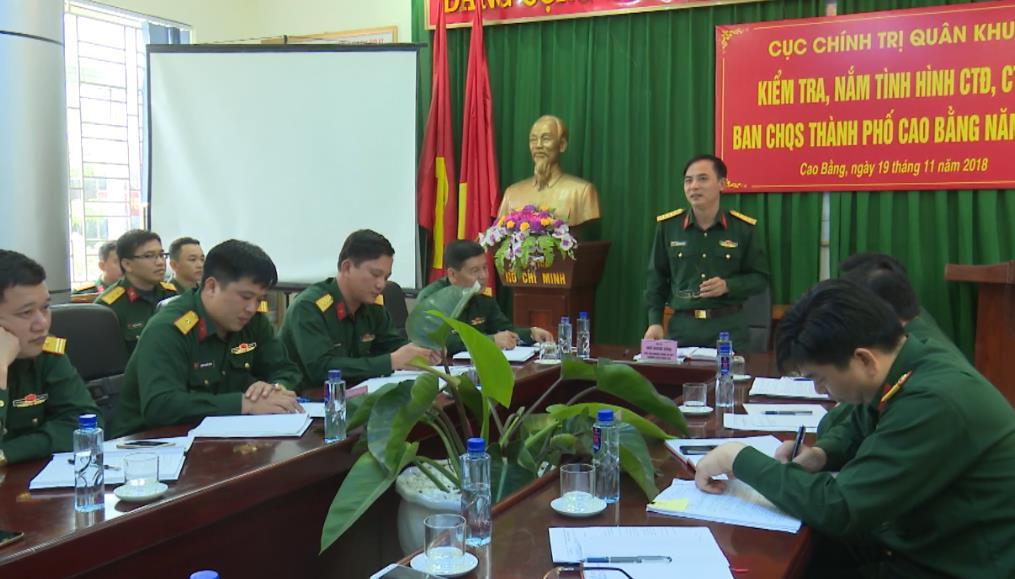 Kiểm tra công tác Đảng, công tác chính trị tại Ban CHQS huyện Quảng Uyên và Thành phố