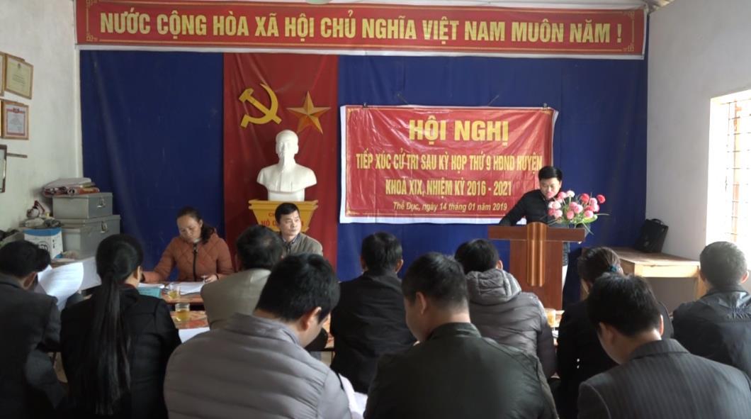 Đại biểu HĐND huyện Nguyên Bình tiếp xúc cử tri xã Thể Dục và thị trấn Nguyên Bình