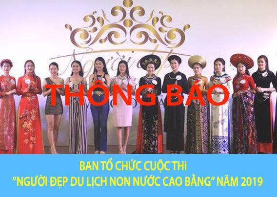 """Thông báo của Ban Tổ chức cuộc thi """"Người đẹp Du lịch Non nước Cao Bằng"""" năm 2019"""