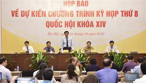 Kỳ họp thứ 8, Quốc hội Khóa XIV sẽ khai mạc ngày 21/10