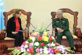Thượng tướng Nguyễn Chí Vịnh tiếp Đại diện Thường trú Chương trình Phát triển Liên hợp quốc tại Việt Nam