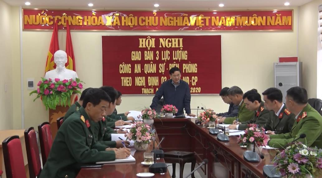 Thạch An: Hội nghị giao ban thực hiện quy chế phối hợp giữa 3 lực lượng công an, quân sự, biên phòng