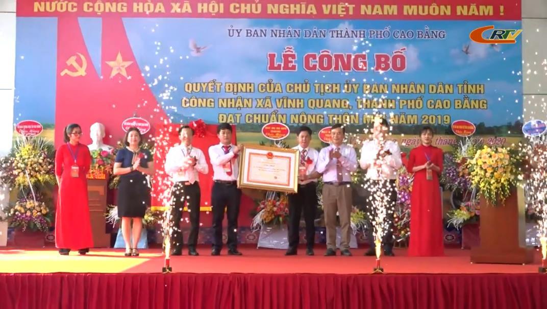 Thành phố: Xã Vĩnh Quang đón bằng công nhận xã đạt chuẩn nông thôn mới