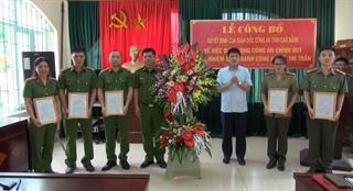 Quảng Hòa: Công bố quyết định điều động công an chính quy đảm nhiệm chức danh công an xã, thị trấn