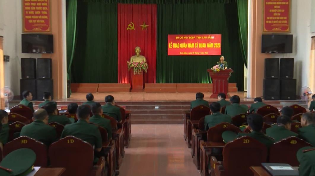Bộ Chỉ huy BĐBP Cao Bằng: Lễ trao quân hàm sỹ quan năm 2020