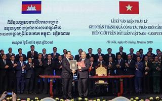 Lễ giao nhận bản đồ địa hình biên giới Việt Nam - Campuchia
