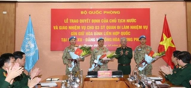 Thêm 3 sĩ quan đi làm nhiệm vụ gìn giữ hòa bình Liên hợp quốc