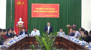 Ban Thường vụ Huyện ủy Hòa An làm việc với Đảng bộ thị trấn Nước Hai