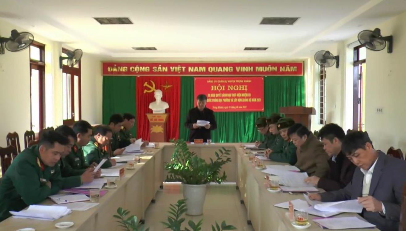 Đảng ủy Quân sự huyện Trùng Khánh ra Nghị quyết lãnh đạo thực hiện nhiệm vụ quốc phòng, quân sự địa phương năm 2021