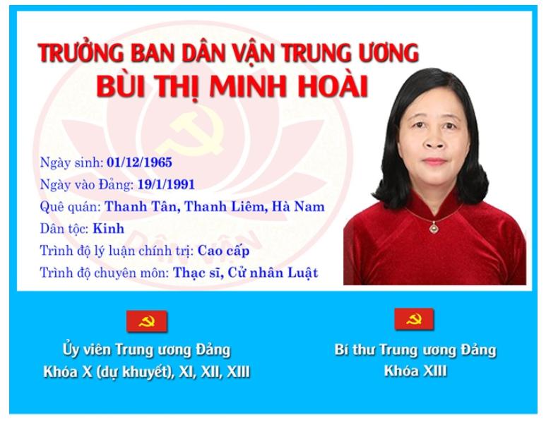 [Infographic]: Chân dung tân Trưởng ban Dân vận Trung ương Bùi Thị Minh Hoài