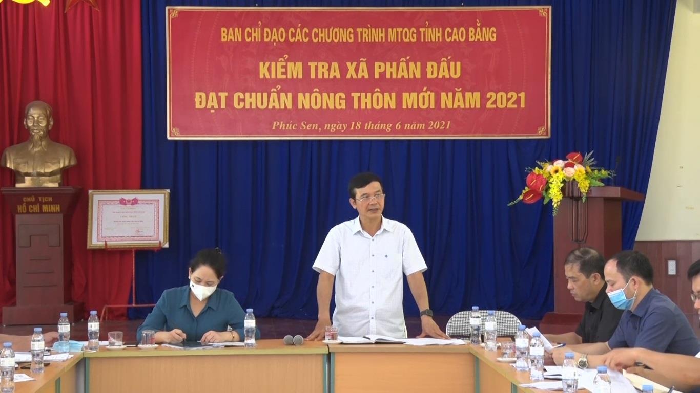 Phó Chủ tịch UBND tỉnh Nguyễn Trung Thảo kiểm tra thực hiện Chương trình Mục tiêu quốc gia xây dựng nông thôn mới tại xã Phúc Sen, huyện Quảng Hòa