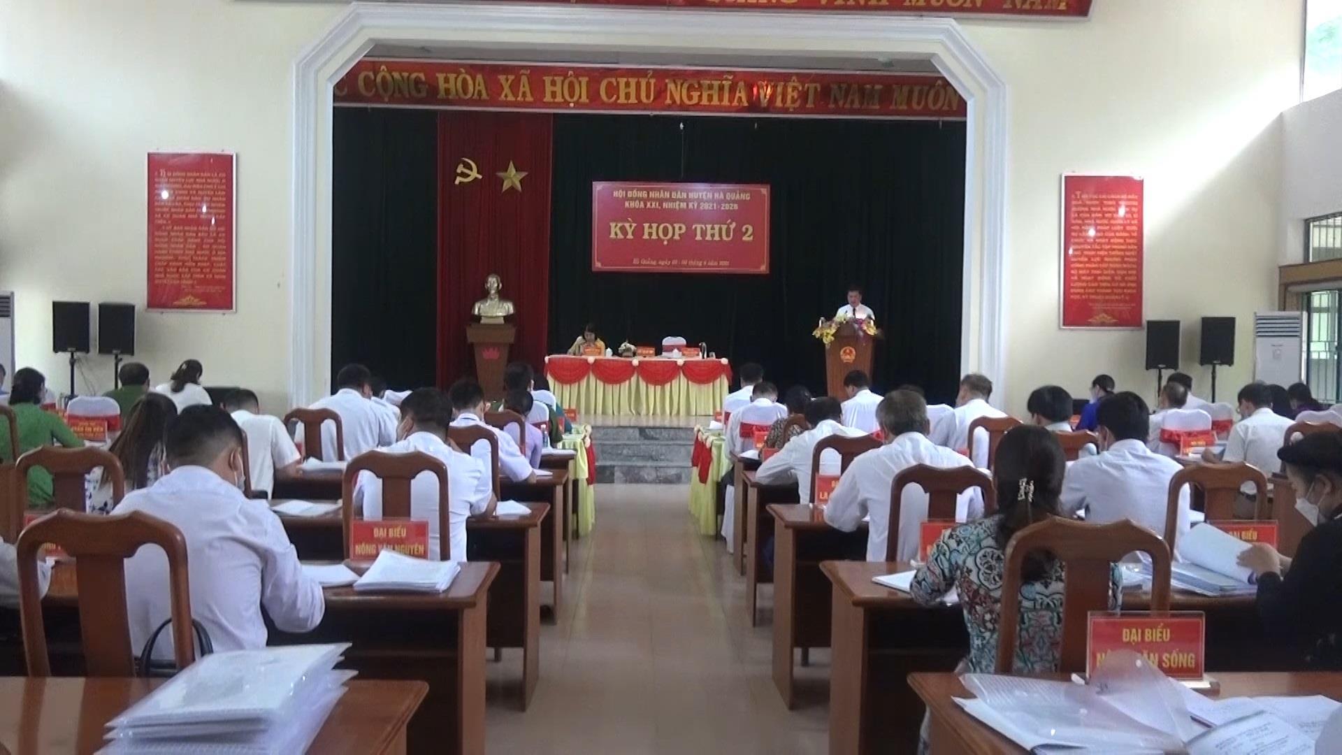 Hà Quảng: HĐND huyện tổ chức Kỳ họp thứ 2 khóa XXI, nhiệm kỳ 2021 - 2026