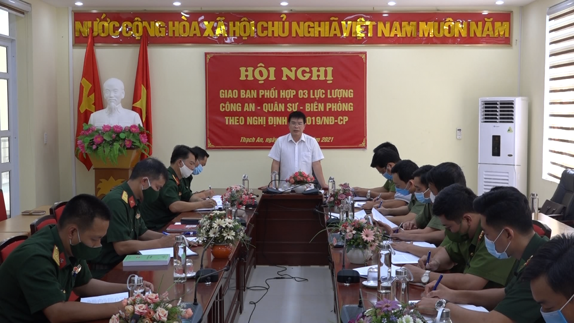 Thạch An: Giao ban phối hợp 3 lực lượng Công an - Quân sự - Biên phòng